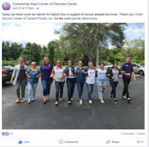 Tweet from Hope center of staff on denim day