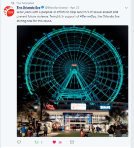 Tweet of orlando eye lit up in blue on denim day