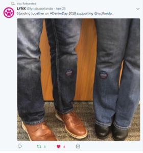 Tweet of lynx employees on denim day