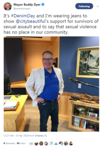 Tweet of orlando mayor buddy dyer on denim day